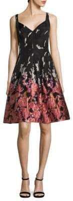 Aidan Mattox Printed Fit-&-Flare Party Dress