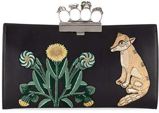 Alexander McQueen Embroidered Flat Leather Clutch Bag, Black