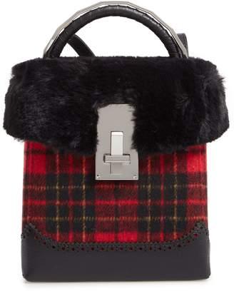 the VOLON Plaid Great Box Bag with Faux Fur Trim