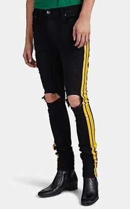 Amiri Men's Track Distressed Striped Skinny Jeans