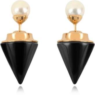 Vita Fede Double Titan Stone Pearl Earrings w/Akoya Pearls