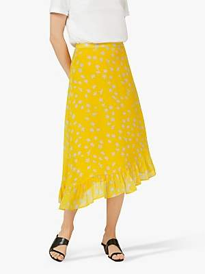 fc39face857302 Finery Ebba Floral Frill Hem Skirt, Yellow