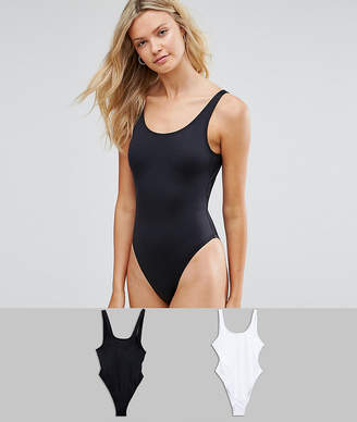 Asos Tall DESIGN Tall recycled Scoop Front Swimsuit Multipack
