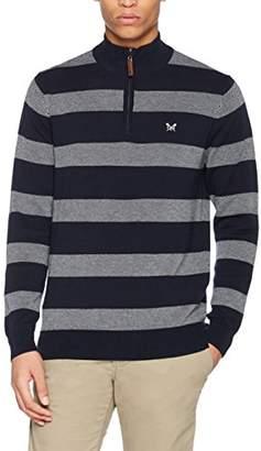 Crew Clothing Men's Oxford Stripe 1/2 Zip Sweatshirt,Large