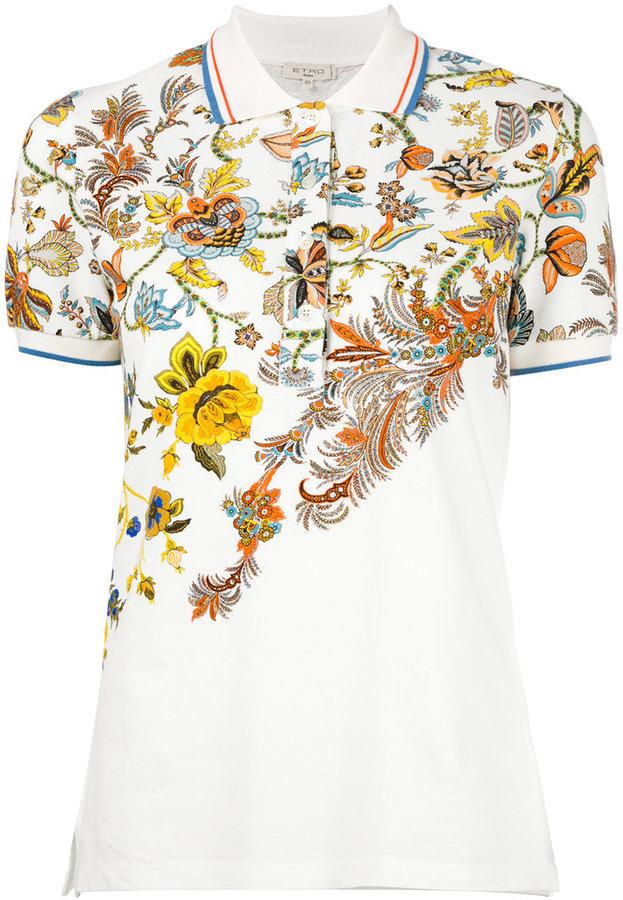 EtroEtro floral print polo shirt