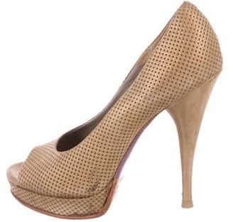 Versace Suede High-Heel Pumps