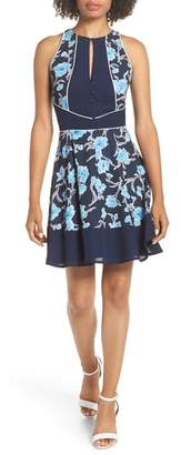 Adelyn Rae Janice Print Fit & Flare Dress