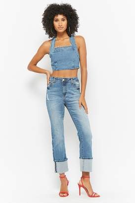 Forever 21 Distressed Cuffed Capri Jeans