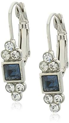 clear 1928 Jewelry Silver-Tone Square with Crystal Accent Petite Drop Earrings