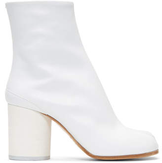 Maison Margiela White Soft Leather Tabi Boots