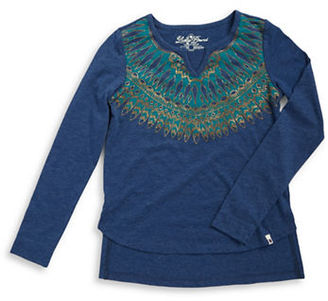 Lucky Brand Girls 7-16 Feather Graphic Hi-Lo Top $26 thestylecure.com