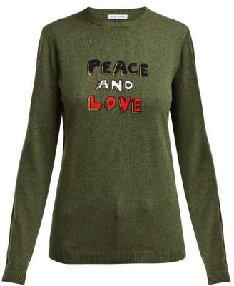 Bella Freud Peace And Love Cashmere Blend Sweater - Womens - Khaki Multi
