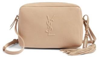 Saint Laurent Small Mono Leather Camera Bag - Beige $995 thestylecure.com