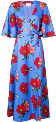 Rebecca De Ravenel floral print wrap dress
