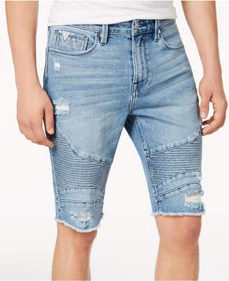 GUESS Men's Slim-Fit Stretch Destroyed Denim Moto Shorts