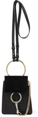 Chloé Faye Bracelet Mini Leather And Suede Shoulder Bag - Black