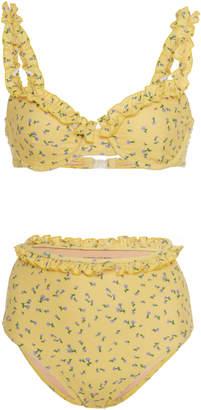 Faithfull The Brand Frida Ruffled Floral-Print Bikini Size: XS