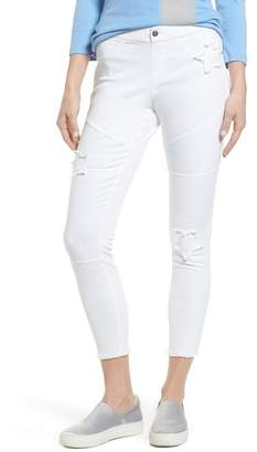 Hue Star Patch Denim Moto Skimmer Leggings