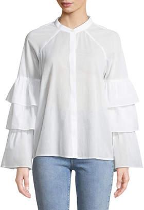 BCBGMAXAZRIA Tiered-Ruffle Sleeve Button Front Shirt