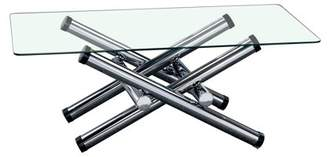 Furniture of America Wiggy Contemporary Glass Coffee Table, Chrome
