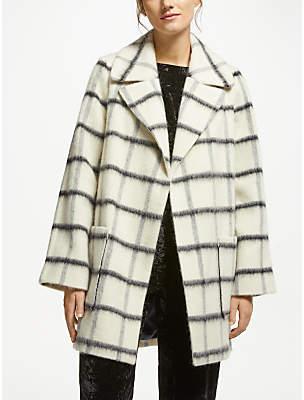 Blurred Check Coat, Milk Combo