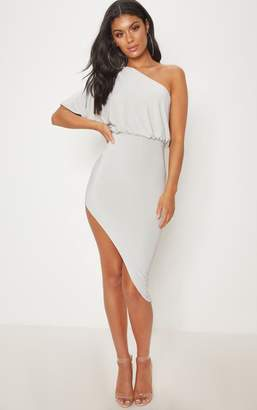 PrettyLittleThing Khaki Drape One Shoulder Asymmetric Midi Dress