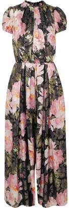 Dolce & Gabbana Floral-print Silk-blend Lamé Jumpsuit - Black