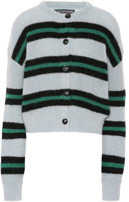 ALEXACHUNG Striped wool-blend cardigan