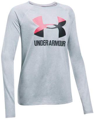 Under Armour Girls Big Logo Slash Long Sleeve Top