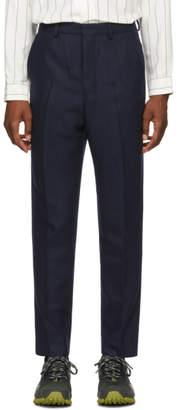 Ami Alexandre Mattiussi Navy Wool Carrot Trousers