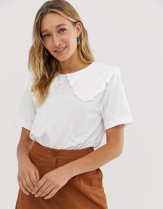 Monki short sleeve t-shirt with oversized collar in white