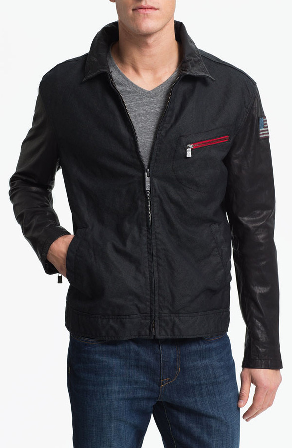 Andrew Marc New York Denim & Leathers by Denim Jacket with Leather Sleeves