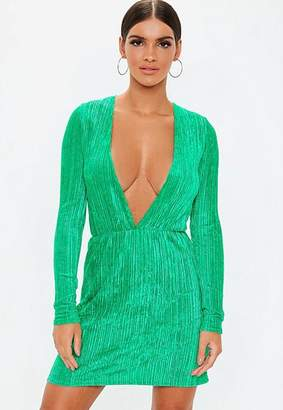 Missguided Green Pleated V Plunge Mini Dress