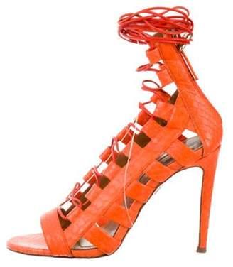 Aquazzura Snakeskin Caged Sandals Orange Snakeskin Caged Sandals