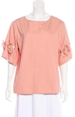 Philosophy di Alberta Ferretti Distressed Poplin Top