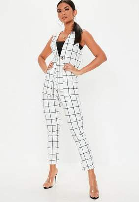 Missguided White Grid Plaid Co Ord Cigarette Pants