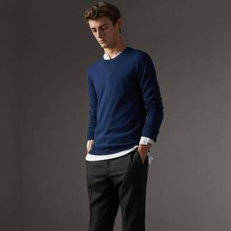 Burberry Check Jacquard Detail Cashmere Sweater
