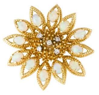 18K Diamond and Opal Flower Brooch