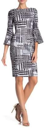 Modern American Designer Patterned 3/4 Bell Sleeve Dress