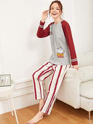 603fedf3e5 Shein Bear & Letter Print Striped Pajama Set