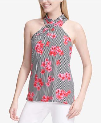 Calvin Klein Printed Striped Halter Top