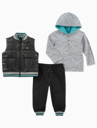 Calvin Klein baby boy 3-piece vest hoodie set