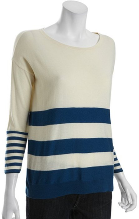 Joie chalk ivory and mallard blue stripe wool- and cashmere-blend knit 'Jerome' sweater