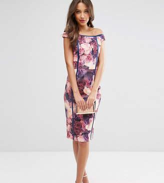 Bardot Asos Tall ASOS TALL SALON Bodycon Dress in Mystical Floral Print