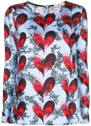 Odeeh heart printed blouse
