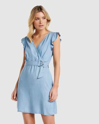 Forever New Olvia Frill Wrap Denim Dress