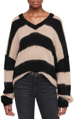 AllSaints Lou Stripe V-Neck Pullover