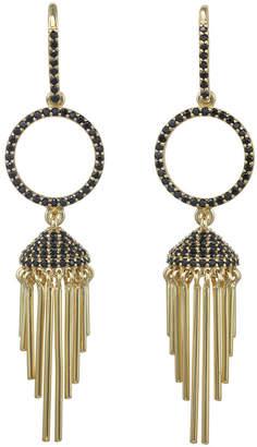Rachel Reinhardt Deco Fringe 14K Over Silver Black Spinel Earrings