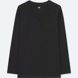 Uniqlo Women's Compact Cotton V-Neck Long-sleeve T-Shirt