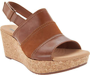 Clarks Leather Cork Wedge Adjustable Sandals -Annadel Janis